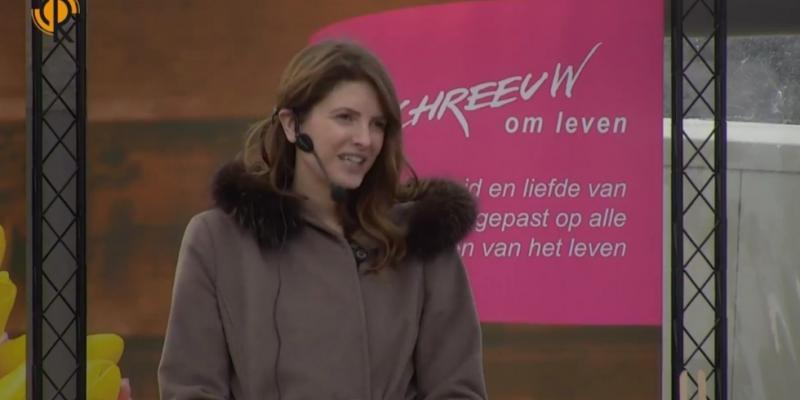 Maaike speaking at the Dutch March for Life